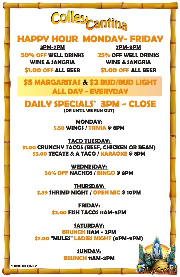 Colley Cantina Happy Hour Menu